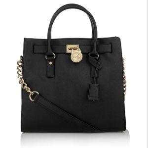 Michael Kors Hamilton Purse Bag Tote Black Leathe